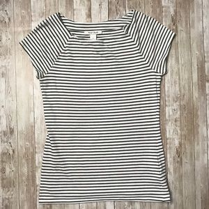 WHBM Green and White Striped Short Sleeve Top S